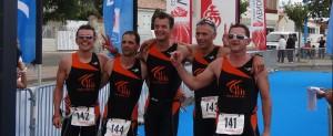 Arrivée de l'équipe ACBB Triathlon au master de la coupe de France
