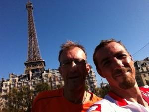 Ronan et Dyder à l'arrivée du bike & run de Paris