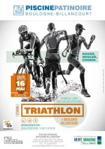 Affiche triathlon Indoor de Boulogne-Billancourt 2015