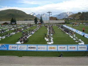 Le parc à vélo du triathlon de l'Alpe