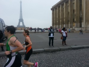 Trocadéro et vue sur la tour Eiffel au triathlon de Paris 2016