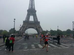 Jean-Jacques sur le pont d'Iéna au triathlon de Paris 2016