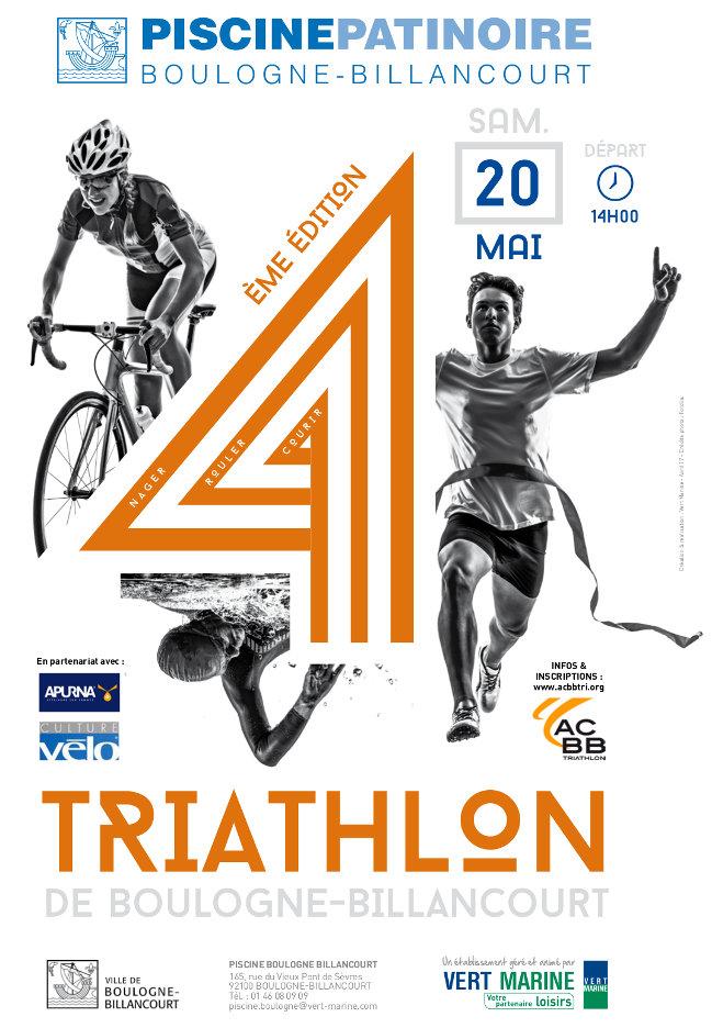 Affiche du triathlon Wattbike 2017 de Boulogne-Billancourt