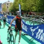 Départ pour le vélo au triathlon de Versailles 2013