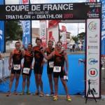Arrivée de l'équipe Master ACBB Triathlon à l'Aiguillon-sur-mer