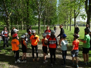 Les jeunes de l'ACBB Triathlon au bike and run du club.