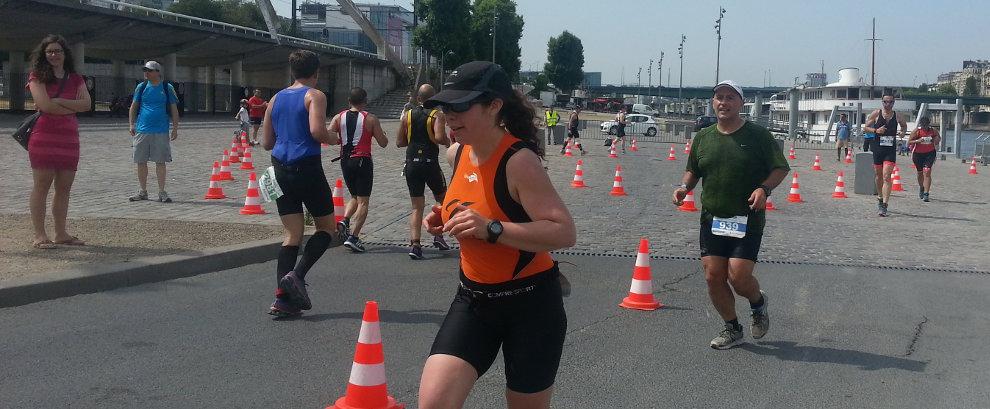 Claire au Triathlon de Paris 2015