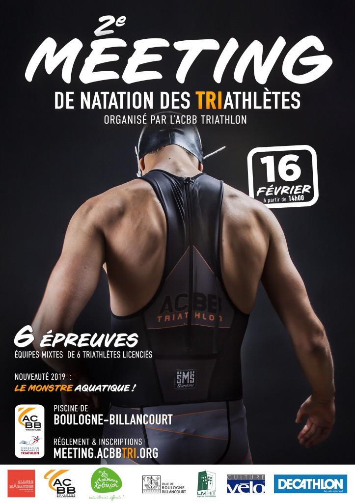 Affiche du meeting de natation pour triathlètes de l'ACBB Triathlon le 16 février 2019